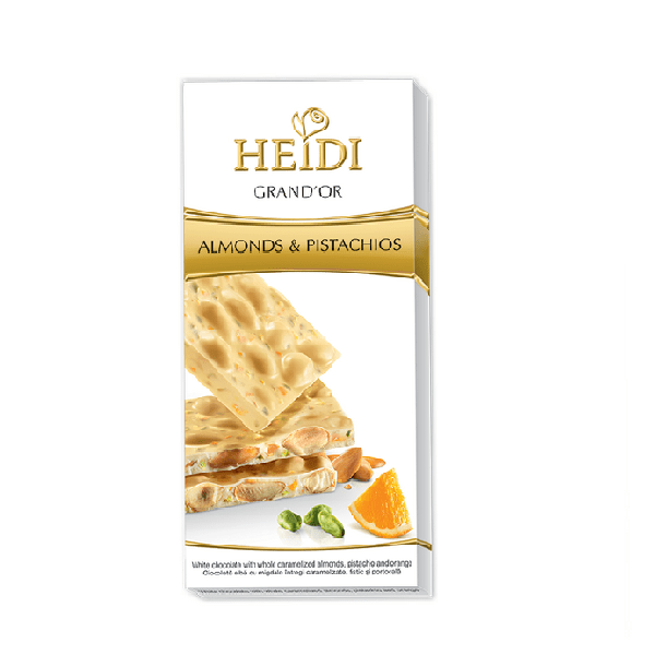 GrandOr white almonds pistachio orange min - شکلات Heidi بادام و پسته